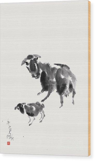 Ewe With Lamb  Wood Print by Nadja Van Ghelue