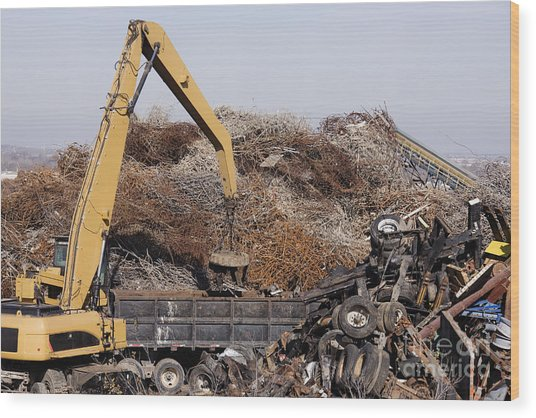Excavator Moving Scrap Metal With Electro Magnet Wood Print by Jeremy Woodhouse