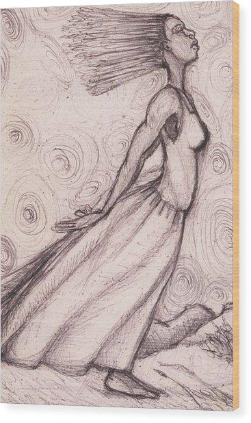 Exhaled Wood Print by Malik Seneferu