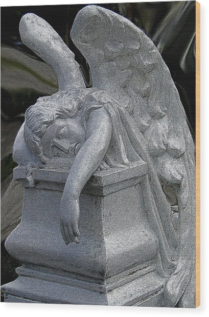 Exhausted Guardian Angel Wood Print