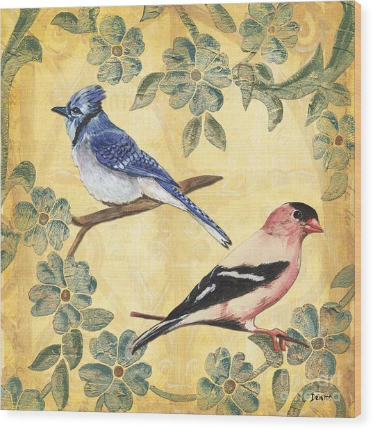 Exotic Bird Floral And Vine 1 Wood Print