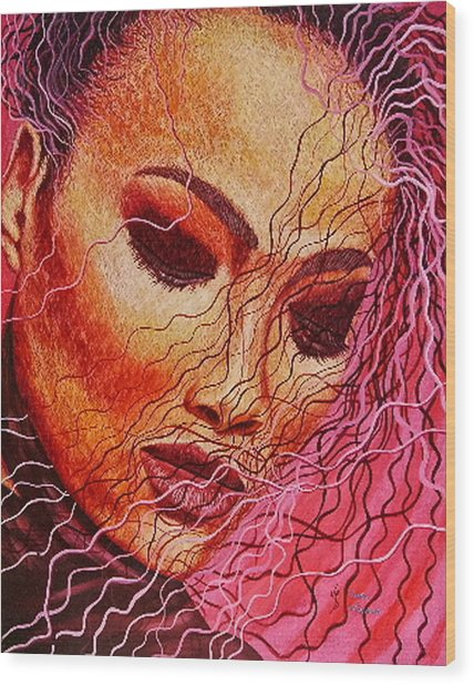 Expression In Hair Wood Print by Shahid Muqaddim