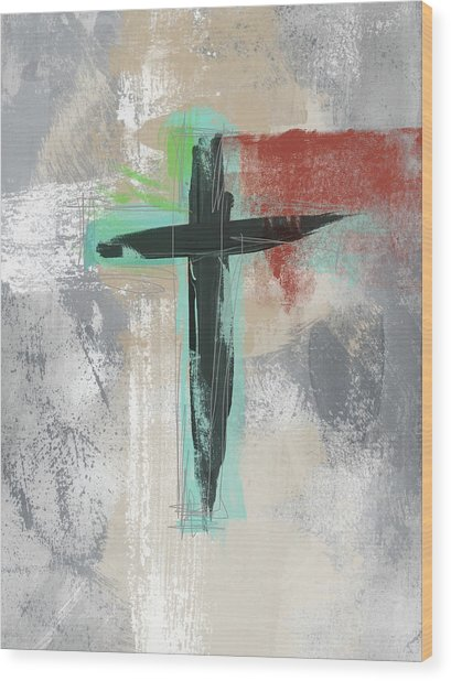 Expressionist Cross 3- Art By Linda Woods Wood Print