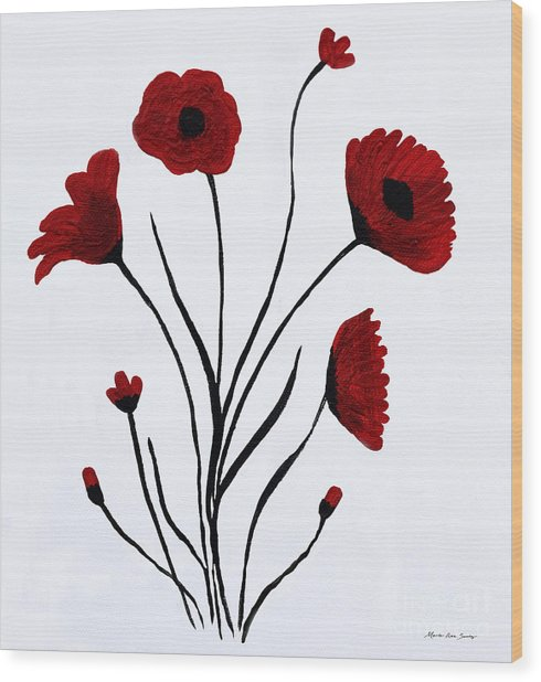 Wood Print featuring the painting Expressive Abstract Poppies A61216b_e by Mas Art Studio