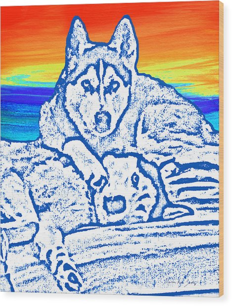 Wood Print featuring the painting Expressive Huskies Mixed Media C51816 by Mas Art Studio