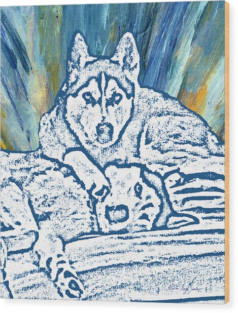 Wood Print featuring the painting Expressive Huskies Mixed Media F51816 by Mas Art Studio