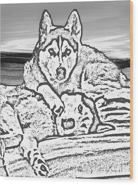 Wood Print featuring the photograph Expressive Huskies Mixed Media G51816_e by Mas Art Studio