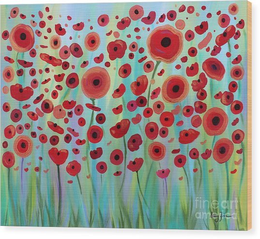 Expressive Poppies Wood Print