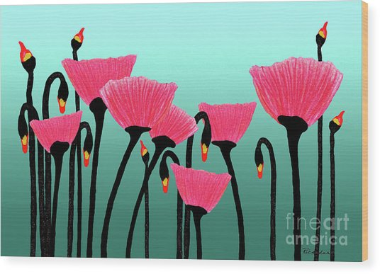 Expressive Red Pink Green Poppy Painting Y1a Wood Print