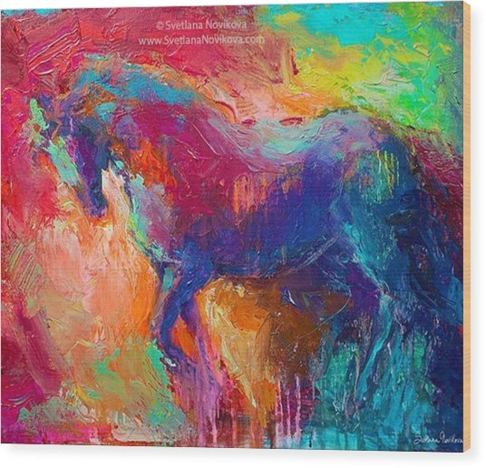 Expressive Stallion Painting By Wood Print