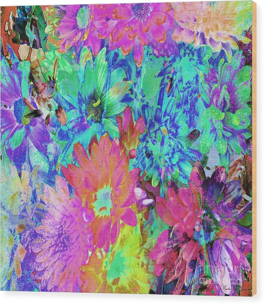 Wood Print featuring the painting Expressive Digital Still Life Floral B721 by Mas Art Studio