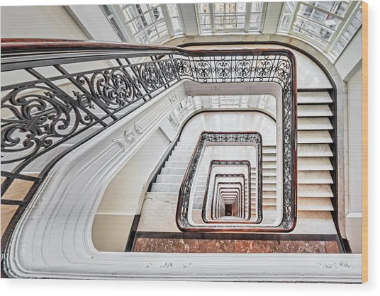 Wood Print featuring the photograph Exquisite Staircase Nyc  by Susan Candelario