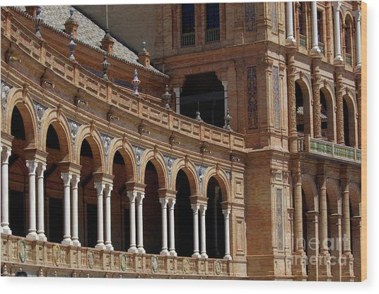 Exterior View Of The Plaza De Espana In Seville Wood Print by Sami Sarkis