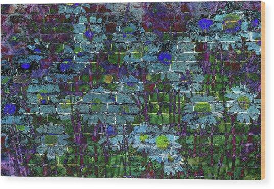 Extraordinary Blue Daisies Graffiti On A Brick Wall Wood Print