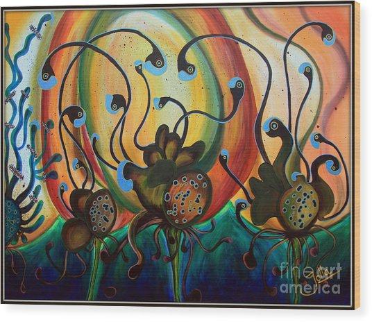 Extraterrestrial Flora Wood Print