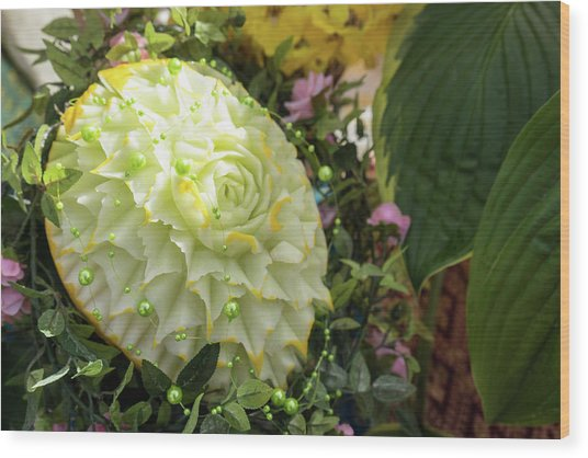 Extravagant Jeweled Dishes - Carved Melon Flower With Green Pearls Wood Print