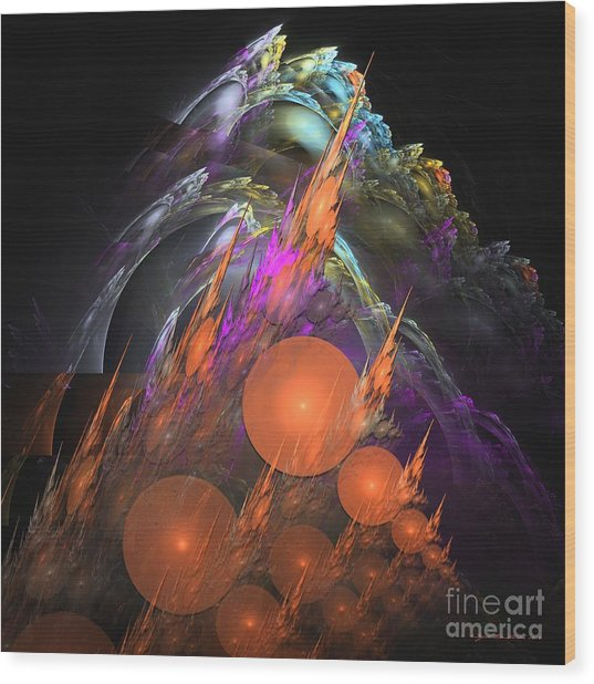 Wood Print featuring the digital art Exuberant - Abstract Art by Sipo Liimatainen
