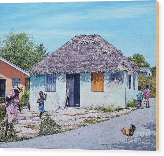 Exuma Thatch Hut Wood Print