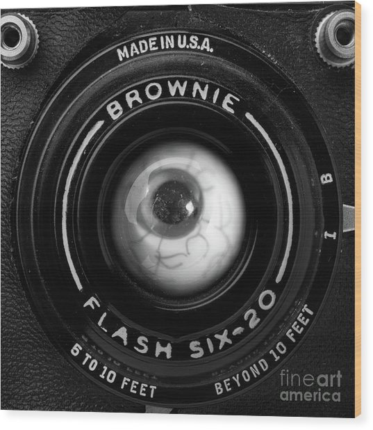 Wood Print featuring the photograph Eye Am A Camera Surreal Photography by Edward Fielding