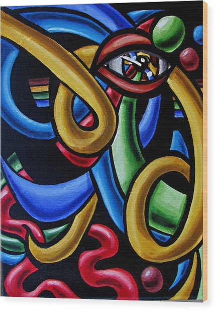 Colorful Illusion Optical Eye Art Painting Chromatic Art - Multicolor Chromatic Energy Flow Art  Wood Print