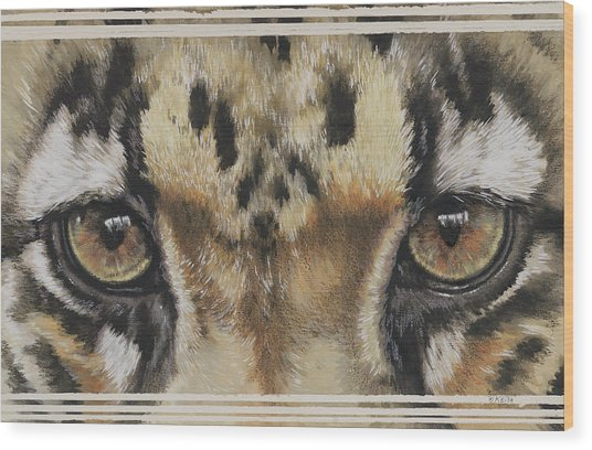 Clouded Leopard Gaze Wood Print
