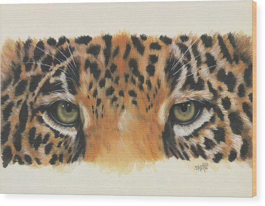 Jaguar Gaze Wood Print