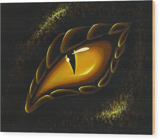 Eye Of Golden Embers Wood Print