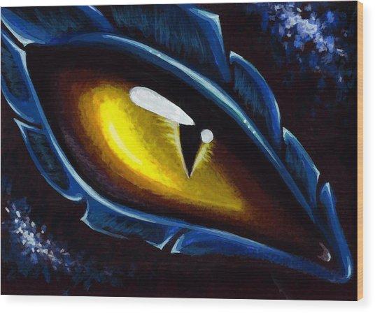 Eye Of The Blue Dragon Wood Print by Elaina  Wagner