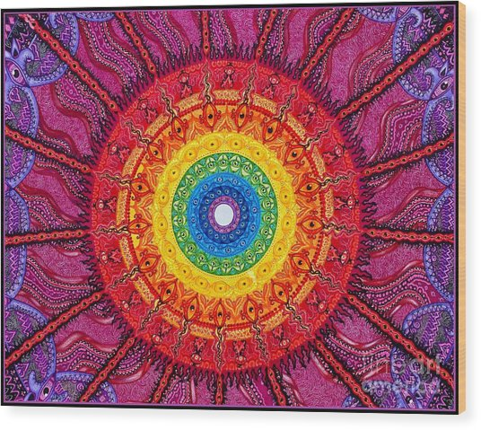 Eye Of The Chakra Storm Wood Print