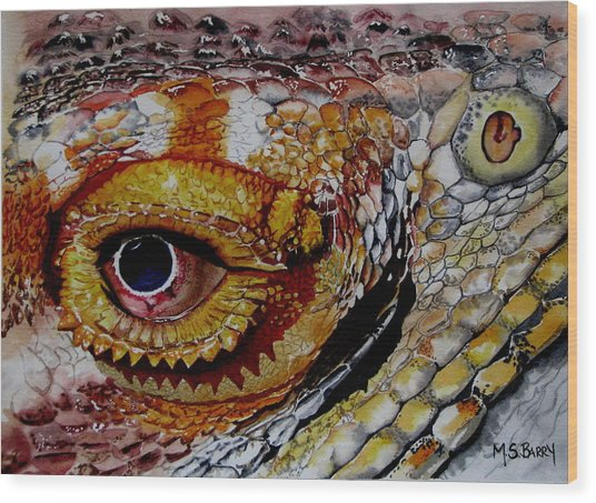 Eye On The Matter Wood Print by Maria Barry