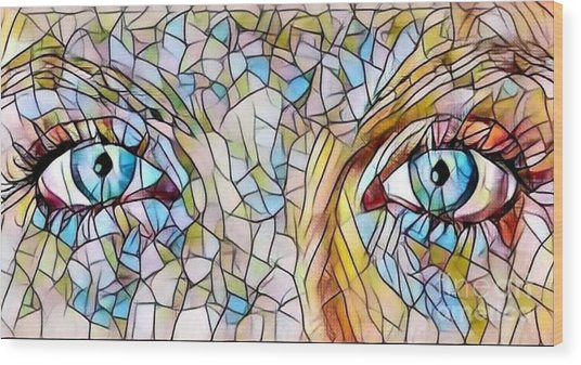 Eyes Of A Goddess - Stained Glass Wood Print