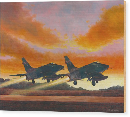 F-100d's Missouri Ang At Dusk Wood Print