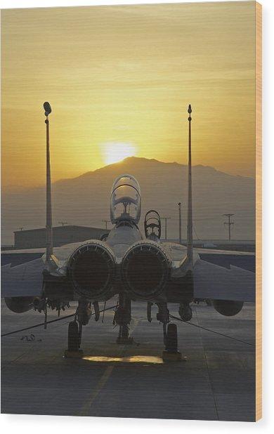 F-15e At Sunrise Wood Print by Tim Grams