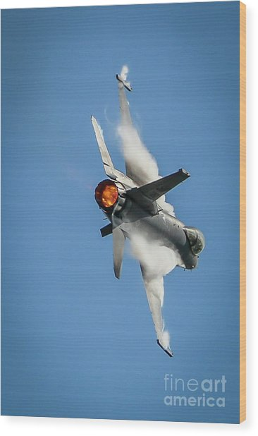 F-16 Banks Right Wood Print