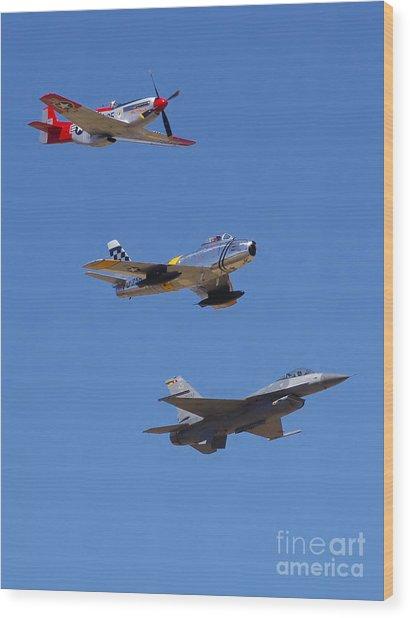 F-16 P-51d F-86 Heritage Flight- Flyby Wood Print
