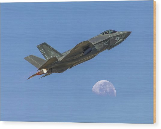 F-35 Shoots The Moon Wood Print
