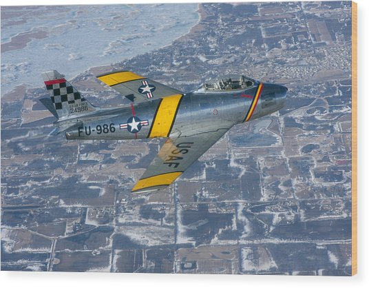 F-86 Sabre Flying 2 Wood Print