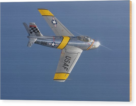 F-86 Sabre Over Lake Michigan Wood Print
