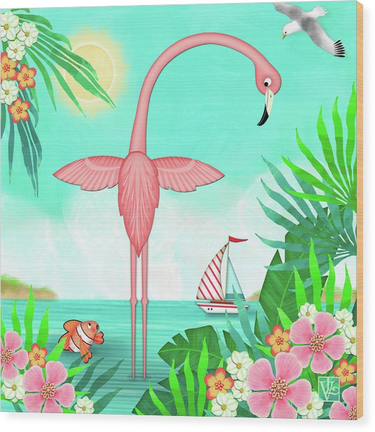 F Is For Flamingo Wood Print