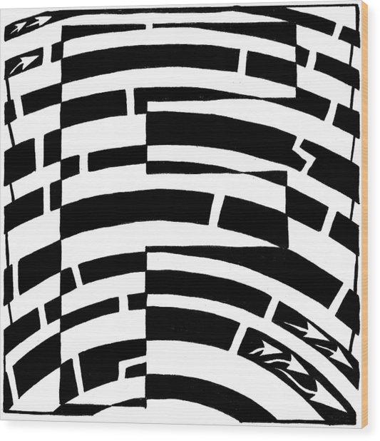 F Maze Wood Print by Yonatan Frimer Maze Artist