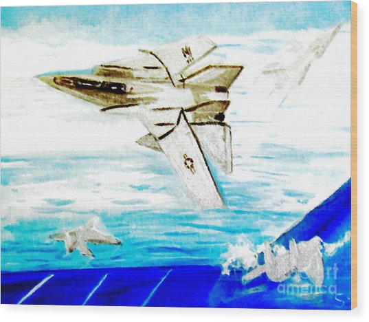F14 And Carrier Wood Print