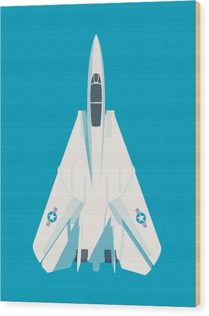 F14 Tomcat Fighter Jet Aircraft - Blue Wood Print