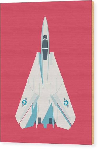 F14 Tomcat Fighter Jet Aircraft - Crimson Wood Print
