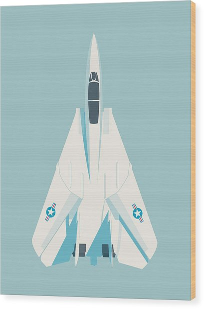 F14 Tomcat Fighter Jet Aircraft - Sky Wood Print