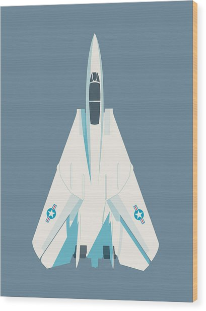 F14 Tomcat Fighter Jet Aircraft - Slate Wood Print