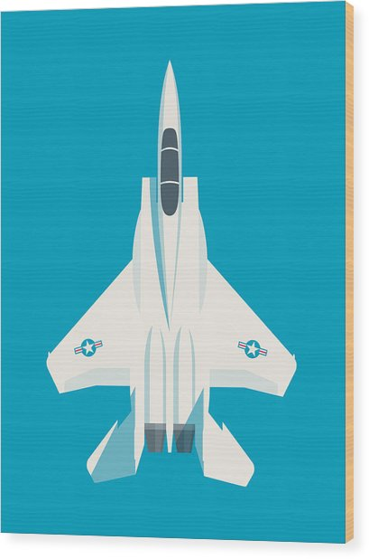 F15 Eagle Fighter Jet Aircraft - Blue Wood Print