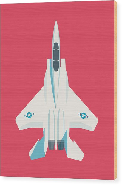 F15 Eagle Fighter Jet Aircraft - Crimson Wood Print