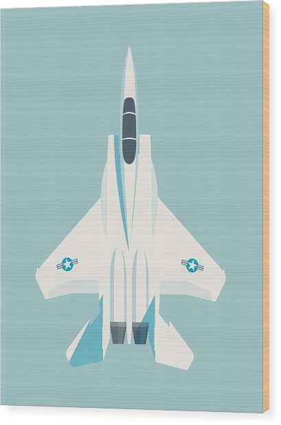F15 Eagle Fighter Jet Aircraft - Sky Wood Print