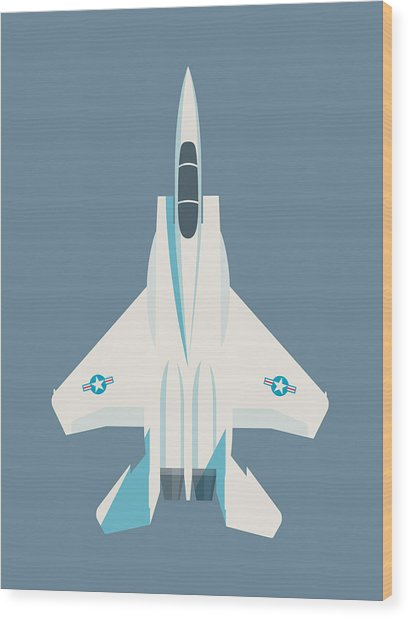 F15 Eagle Fighter Jet Aircraft - Slate Wood Print