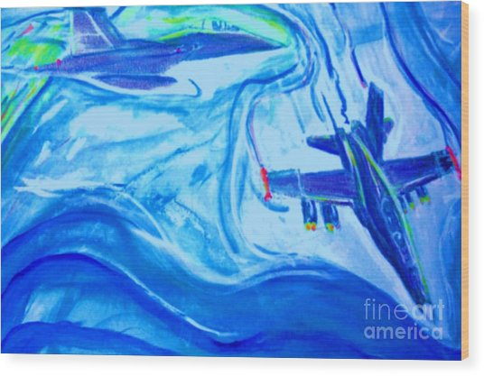 F18 Fighter Aircrafts In Flight Wood Print